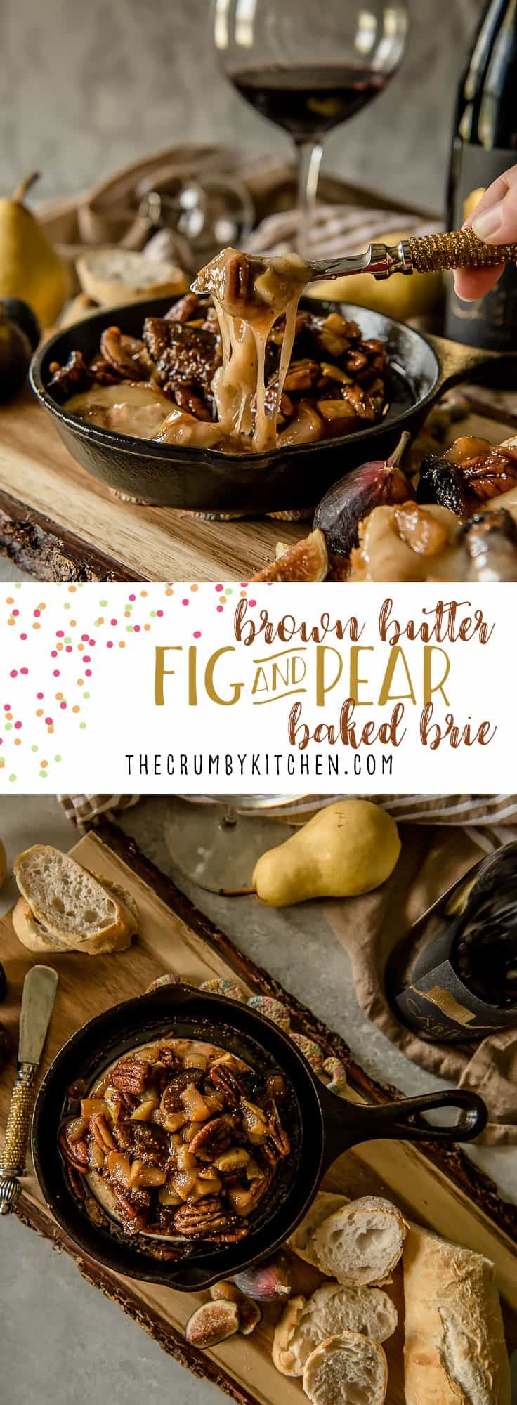 This creamyBrown Butter Fig & Pear Baked Brieis both elegant and comforting, and is sure to be the hit of any holiday or cold weather party! Figs, pears, pecans, and a little sweetness bring out the best in your favorite soft cheese. via @crumbykitchen