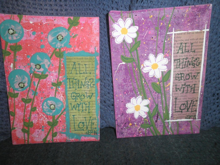 Mini paintings for a wedding social auction, by Jackie Peniuk.