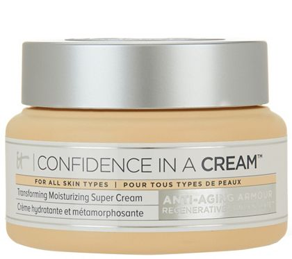 Confidence in a Cream Transforming Moisturizing Super Cream is the first skincare product from IT Cosmetics. The Anti-Aging Armour Concentrate hydrates your skin, minimizing the look of fine lines & wrinkles while giving your skin a smoother, more radiant appearance. Quick absorbing & formulated for all skin types; includes ingredients including niacin, ceramides, collagen, hyaluronic acid, and colloidal oatmeal. Receive (1) 2 fl oz. Confidence in a Cream_________ QVC.com: