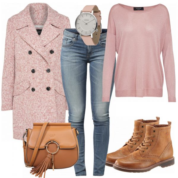 Rose winter look made of pink Only coat, pink jumper and cognac-colored ankle boots by s Oliver .. #fashion #mode #women's fashion #women's fashion #kle