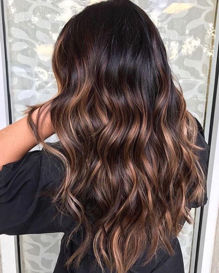 Dimensional Dark Brunette Balayage Hair Color Idea Brunette Hair Color Hair Styles Long Hair Styles