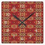 Red Brown Beige Orange Eclectic Ethnic Art Square Wall Clock  #Beige #Brown+ #Clock #Eclectic #Ethnic #Orange #RusticClock #Square #Wall The Rustic Clock