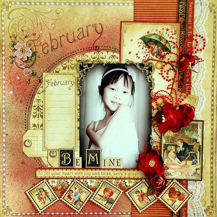 """Irene Tan as Scrapperlicious: using G45 Place in Time paper collection and ZVA embellishments, """"Be Mine"""", Feb. 2013"""
