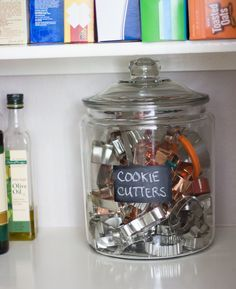 pantry-organization.  Love the cookie cutter storage and white crayon vs chalk for labels. HATE CHALK.