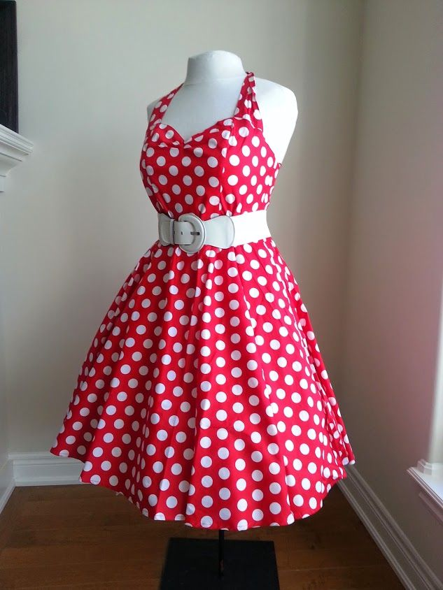 Red with white polka dot Pin-Up dress - Hell Bunny.  Pair it up with a white cynch belt to hug those bombshell curves. #plussize #retrodresses #pinup #pinupmakeup #dresses