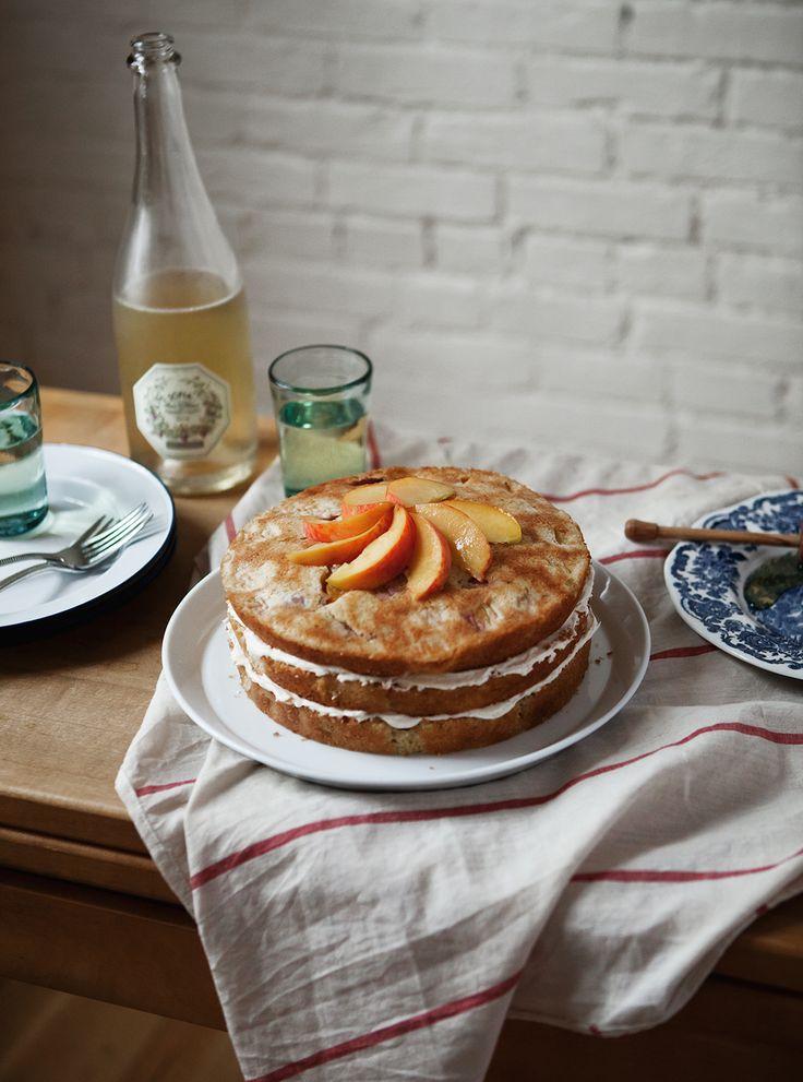 Vanilla Peach Cake with Honey Buttercream Frosting