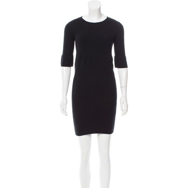 Pre-owned M.PATMOS Cashmere Sweater Dress ($145) ❤ liked on Polyvore featuring dresses, black, scoop neckline dress, short sleeve dress, preowned dresses, m. patmos dress and short-sleeve dresses