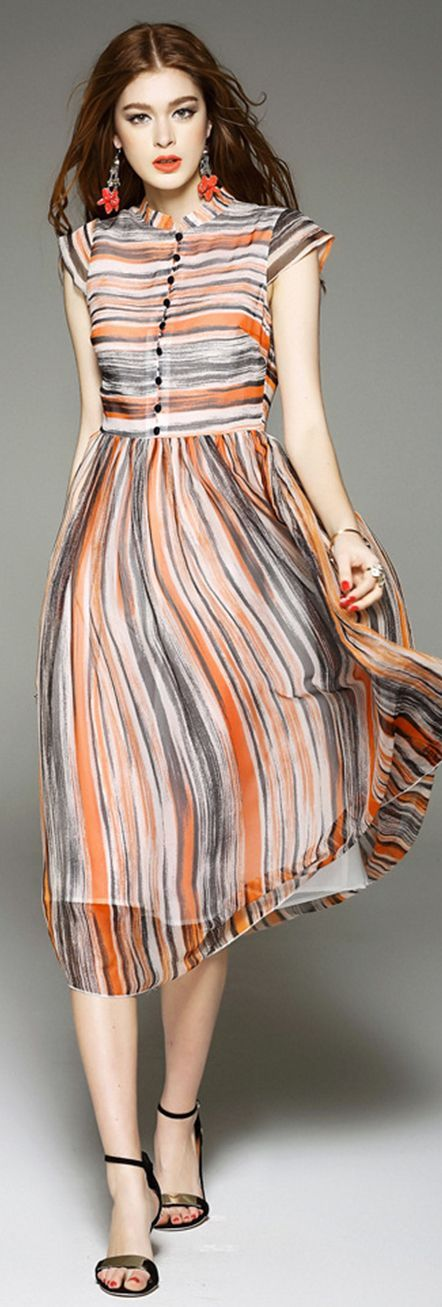 Apricot Band Collar Short Sleeves Striped Silk Dress