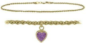 14K Yellow Gold 9 Inch Wheat Anklet with Genuine Amethyst Heart Charm Elite Jewels. $219.50. Save 35% Off!