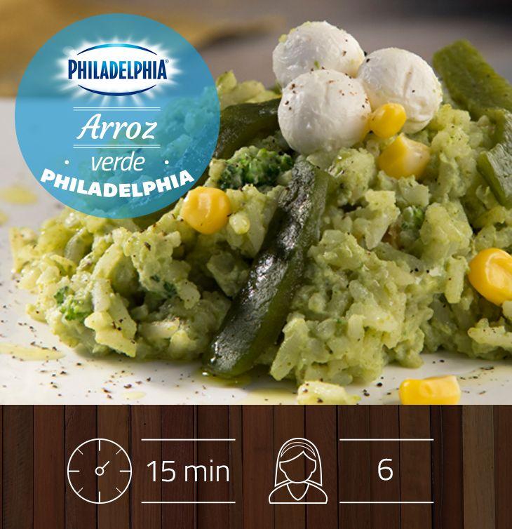 Para la hora de la comida te recomendamos un delicioso Arroz verde Philadelphia, ¿te animarás a preparalo?