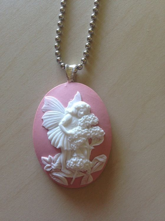Garden fairy cameo pendant necklace