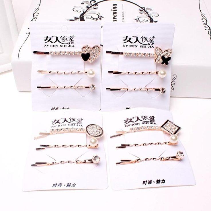 3 Teil / satz Koreanische Haarnadeln Frauen Mädchen Kristall Strass Haarspange Haarnadel Haarband Clamp Haarspangen Haarschmuck