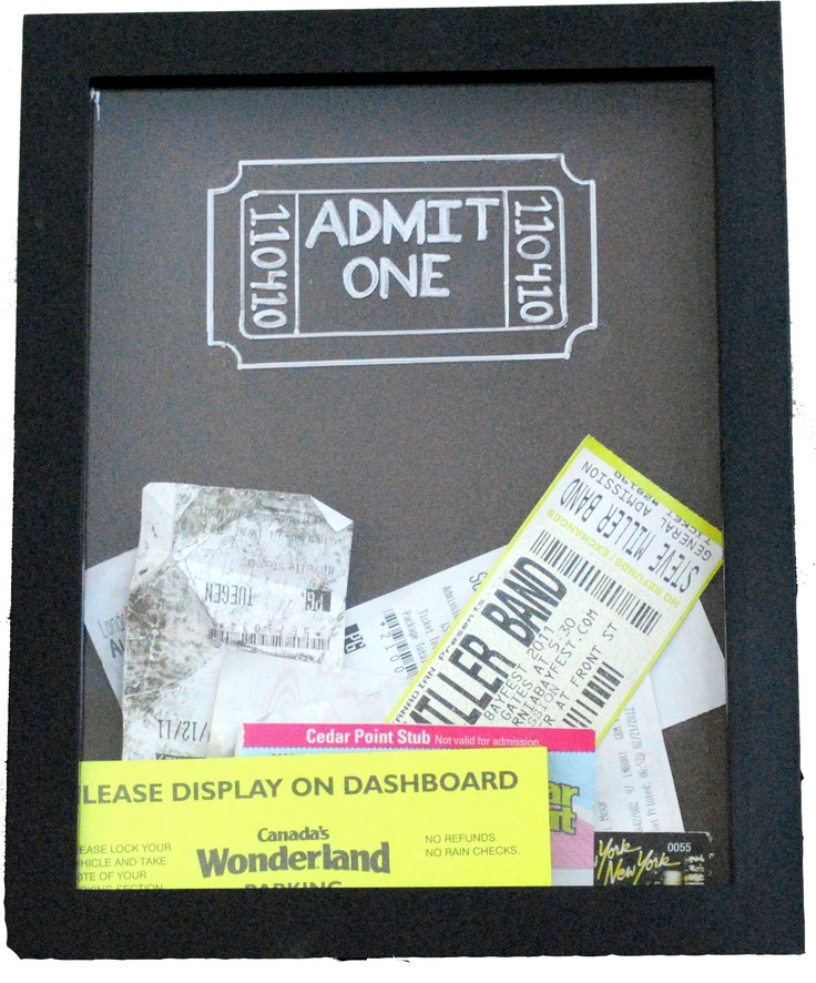 What a Charming Idea: Ticket Keepsake Box.  Admit one written on glass with a sharpie