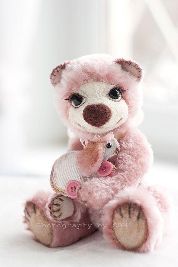 Collectible teddy bear Blossom Artist Bear OOAK by SoftlyBearPaw ON ETSY.