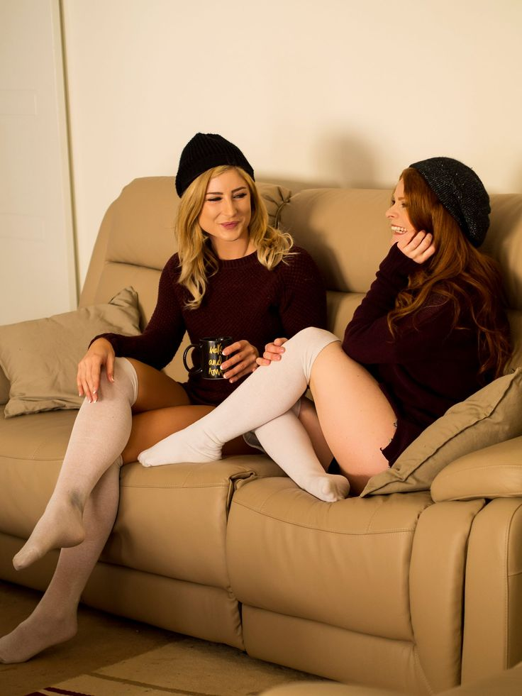 Live. Laugh. Drink tea. #LongSocks #Winter #Laugh #Smile #Redhead #Blonde #Tea #Socks