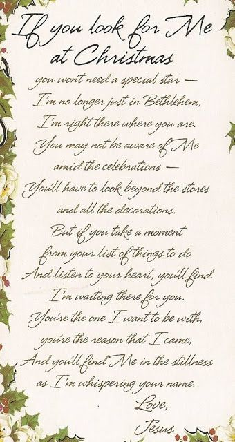 "Poem ""If You Look for Me at Christmas"""