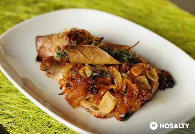 Sertéskaraj karamellizált hagymával