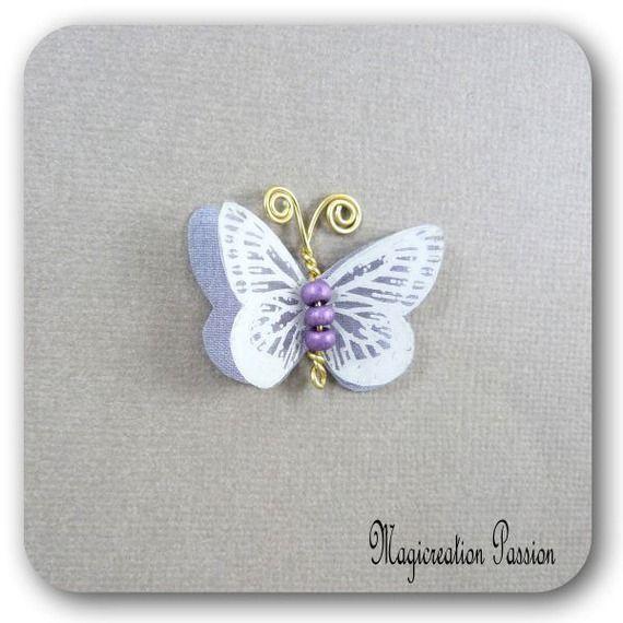 papillon 3.5 cm double ailes soie mauve transparent blanc antennes dorées - Mia
