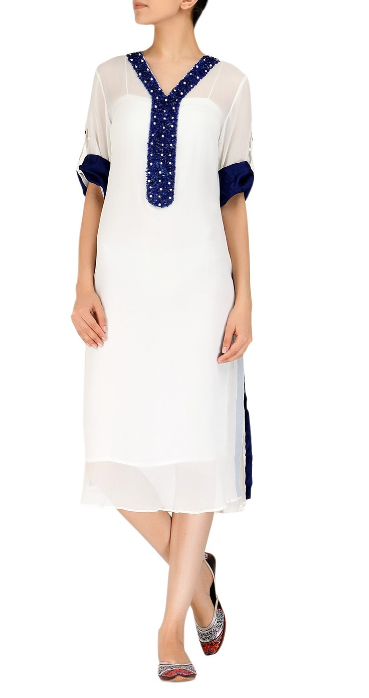 Chiffon white kurta with blue details by Ayesha Khurram. Summer fun.