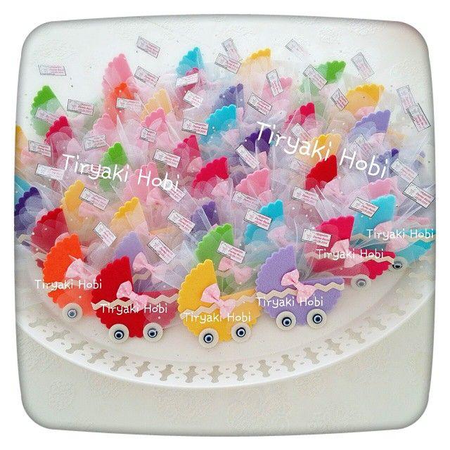 ♥ Tiryaki Hobi ♥: Keçe bebek şekeri / doğumgünü magneti - puset (ZEYNEP BEYZA)