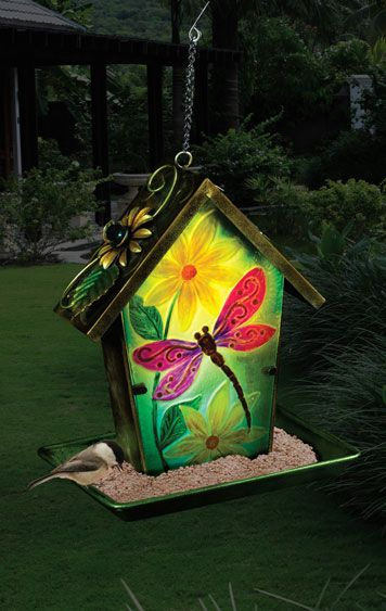 Solar Dragonfly Lantern Bird Feeder - Click to enlarge