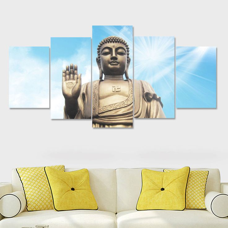Statue Of Buddha God Buddhism 5pcs Painting Oil Print Canvas Wall Art Home Decor #Unbranded #ArtDeco