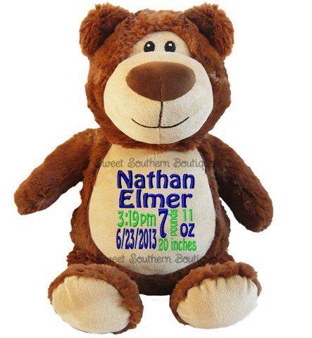 Personalized Teddy Bear Cubbie Cubbies Cubby Stuffed