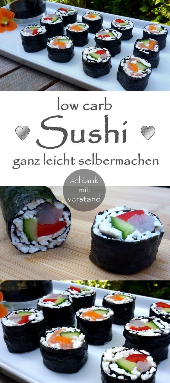 Sushi low carb Das traditionelle Sushi aus Japan ist bis auf den Reis ein tolles low carb, bzw. LCHF Gericht. Wer Sushi auch so gerne mag, sollte unbedingt die reisfreien Varianten mit körnigem Frischkäse oder Blumenkohl ausprobieren. #abnehmen #lowcarb #rezept #health #fitness #sushi #food #japan