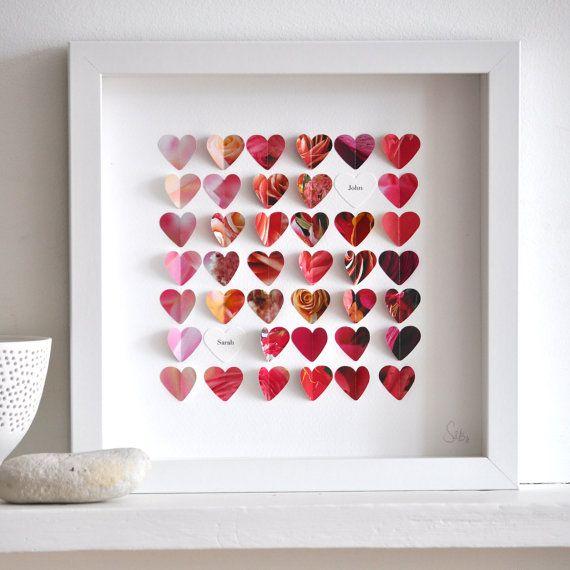 Quick wedding gift... scrapbooking frame + folded paper hearts. Cute! $72 on Etsy - sarahandbendrix