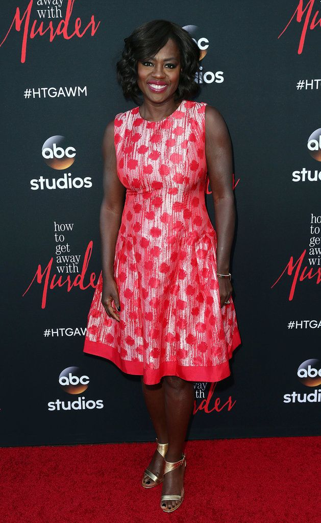 Viola Davis stunned in a spotted red and white dress at a screening of her hit show, How To Get Away With Murder.