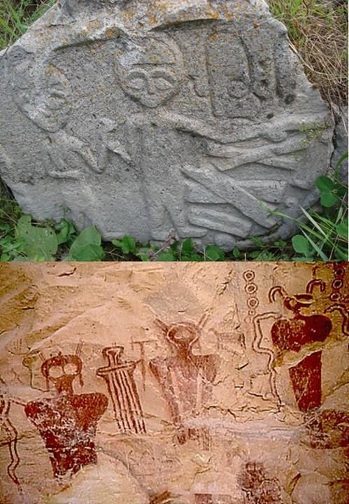 Compare the 12,000 year old Armenian rock carving below with the Native American cave wall illustrations in Sego Canyon, Utah that date back to 5,000 B.C. Are the similarities between them merely a coincidence? Tell us what you think below.