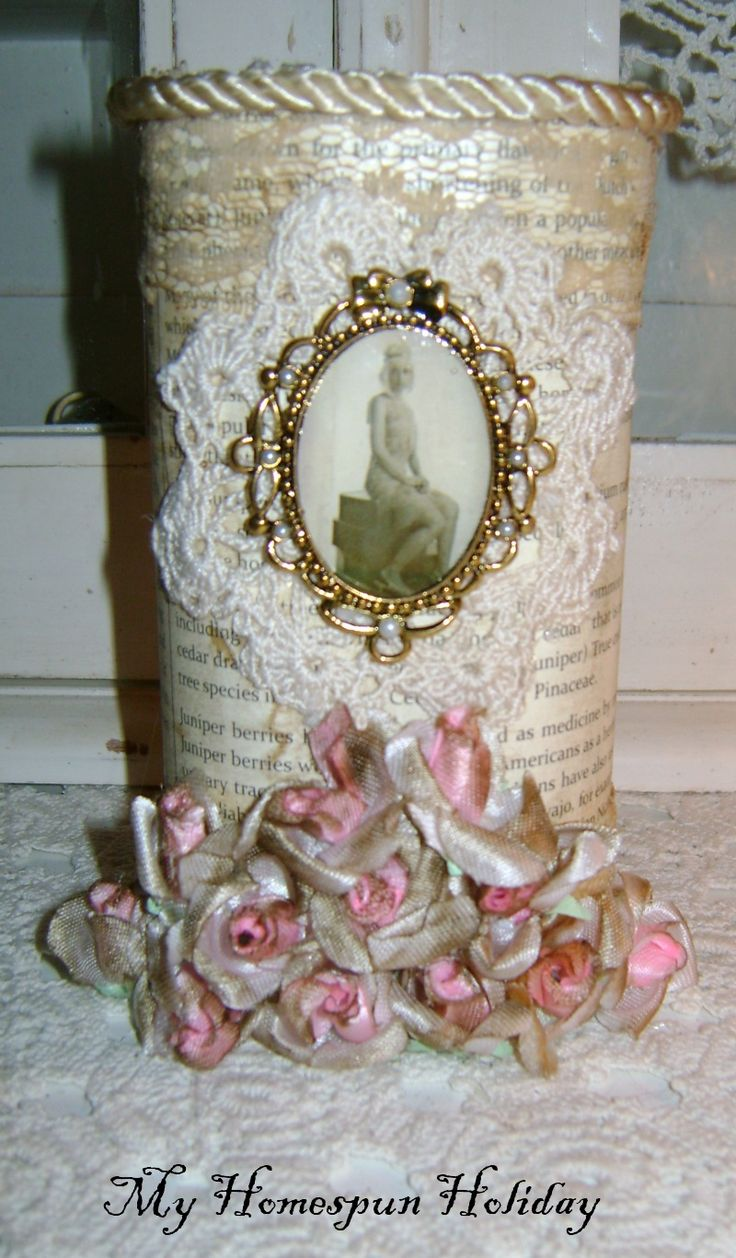My Homespun Holiday: Altered Crystal Light Container!  Love it.