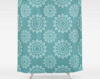 Check out Blue Shower Curtain, Green Shower Curtain, Blue Bathroom, Boho Shower Curtain, Contemporary Bathroom, Teal Shower Curtain, White Medallions on peppermintcreek