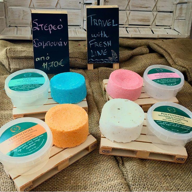 Ταξιδεύουμε με τη #FreshLine! Πρακτικά και 100% χειροποίητα τα #solid #shampoo παρασκευάζονται από φυσική σαπουνόμαζα και αναμειγνύονται στο χέρι με ευεργετικά βότανα και αιθέρια έλαια, τα οποία απελευθερώνουν όλες τις πολύτιμες ιδιότητές τους κατά τη διάρκεια της εφαρμογής, αφήνοντας τα μαλλιά υγιή και λαμπερά. Ο τρόπος χρήσης; Απλός! Εφαρμόζετε σε βρεγμένα μαλλιά και κάνετε απαλό μασάζ ξεκινώντας από τις ρίζες προς τις άκρες. 