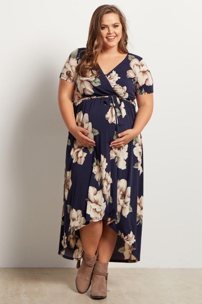 Navy Blue Floral Hi-Low Midi Plus Size Dress