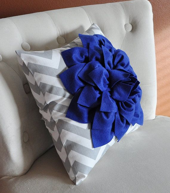 Royal Blue Dahlia on Gray and White Zigzag Pillow by bedbuggs, $35.00