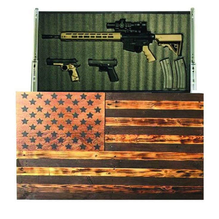 Rustic American Slider Exercise your Second Amendment right and conceal your firearms and accessories with a piece of art that depicts Old Glory rustically, the artwork is built on sliders which can easily be moved for instant access.   An ideal way to house all of your firearms, each unit is shipped with high-density Kaizen gun foam that can be modified to accommodate guns, knives, flashlights, and other accessories.   Comes equipped with key locks for safety, and is shipped with mounting…