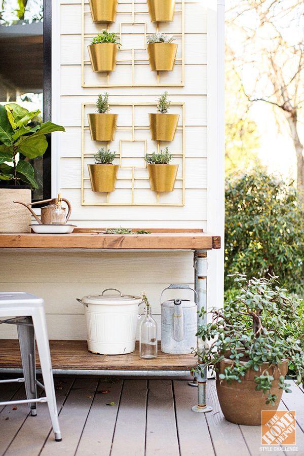 Patio Decor Ideas: A small vertical garden (home depot planters spraypainted)