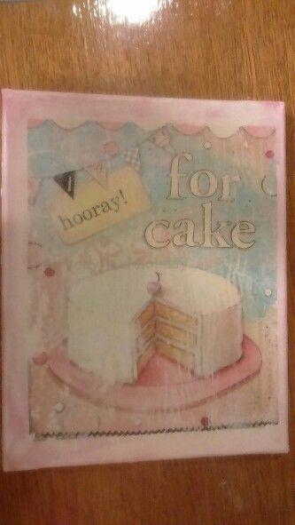 Birthday cake canvas, decoupage