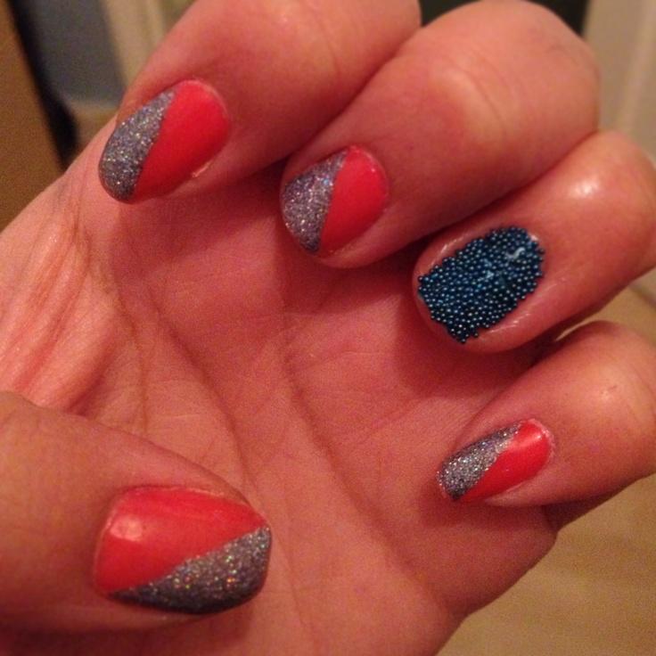 Half & half nails with Caviar bead signature nail