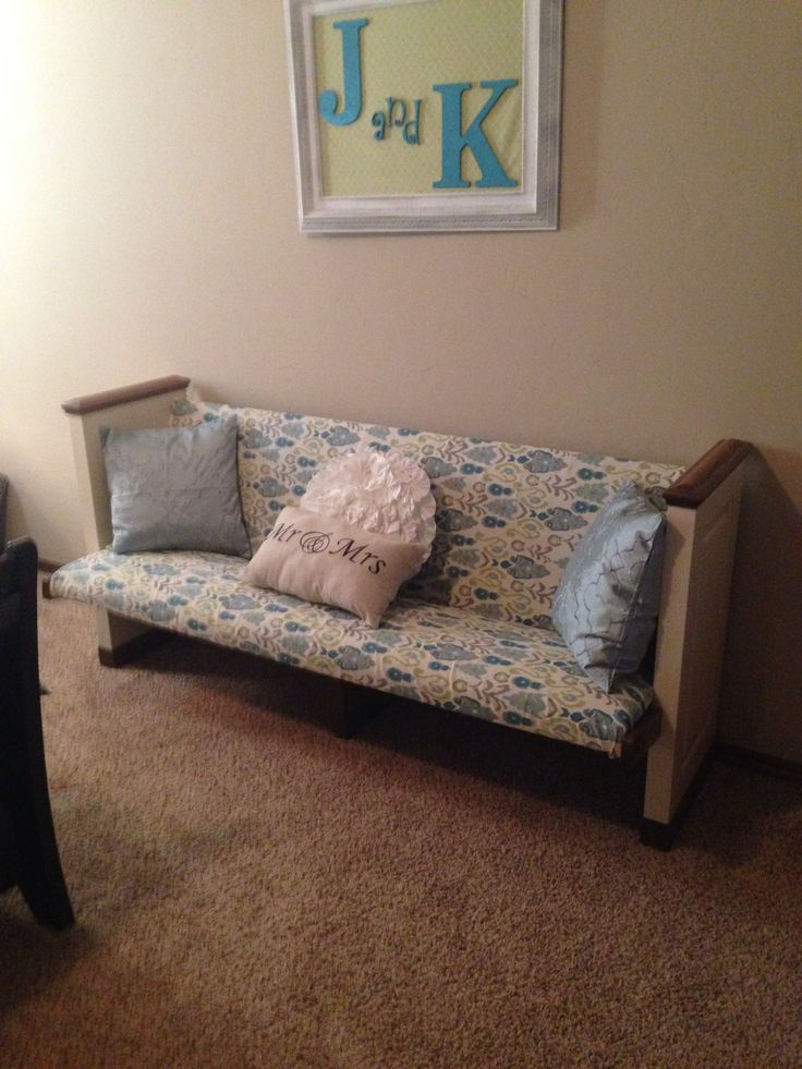 Repurposed church pew. Shoe bench for the bedroom