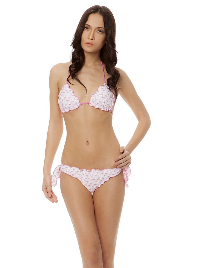 FLAMINGO TRIANGOLO WHITE #paradisebeachwear #bikini #beachwear #style #fashion #sun #sea #beach #fun #love #friends #woman #apparel #summer #flamingo #fenicotteri #pink #rosa