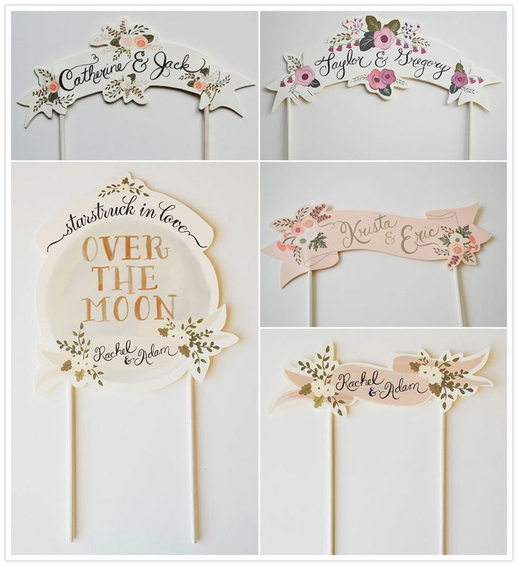 """Adorable custom-made paper cake toppers from Etsy // I need this """"over the moon"""" one."""