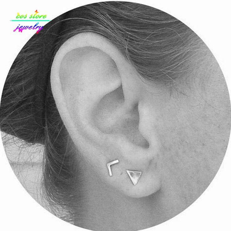 (2 Pair/Set ) Simple Geometric V Shaped And Triangle Stud Earrings Minimalist Earrings