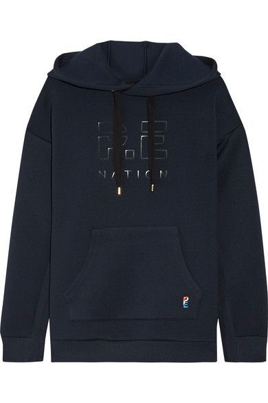 P.E Nation - Prime Time Appliquéd Scuba-jersey Hooded Top - Midnight blue