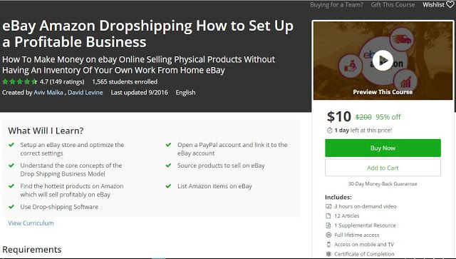 [#Udemy 95% Off] eBay Amazon #Dropshipping How to Set Up a Profitable Business   What Will I Learn?  Setup an eBay store and optimize the correct settings  Open a PayPal account and link it to the eBay account  Understand the core concepts of the Drop Shi