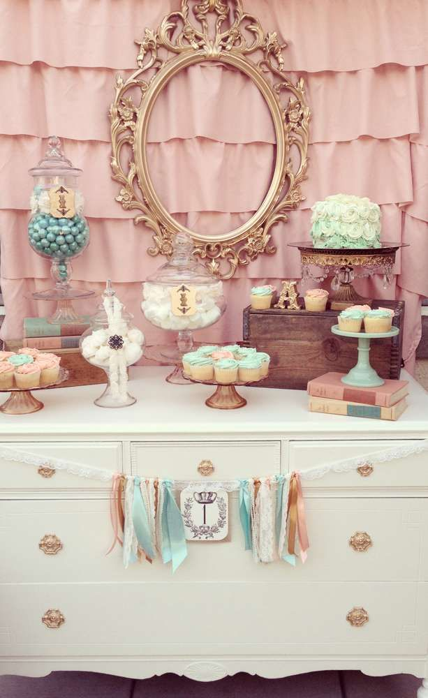 Vintage shabby chic girl 1st birthday party! See more party planning ideas at CatchMyParty.com!