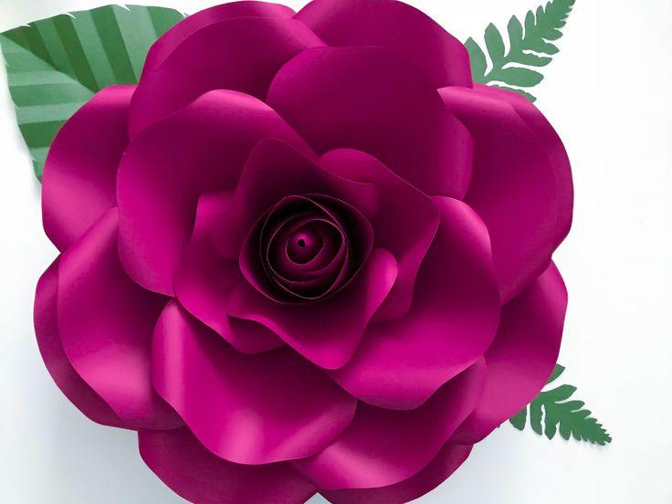pdf new medium rose paper flower template w rose bub center digital version original by annie rose cut trace stencil
