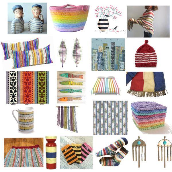 Stripy stuff by belinda-evans on Polyvore featuring art