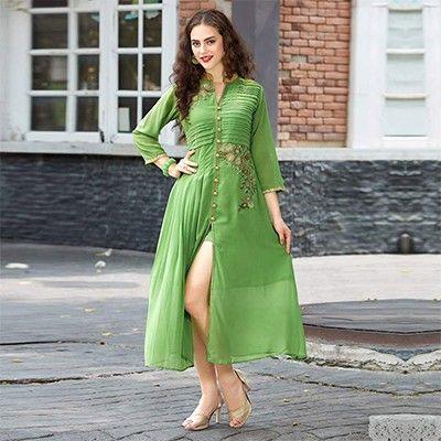 Green Party Wear Georgette Kurti